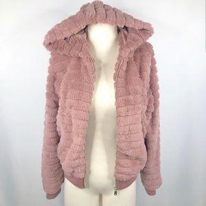 Love Tree Pink Faux Fur Cropped Hooded Jacket
